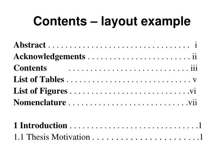 Contents – layout example