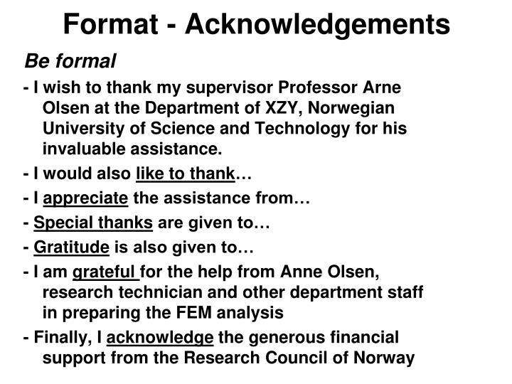 Format - Acknowledgements