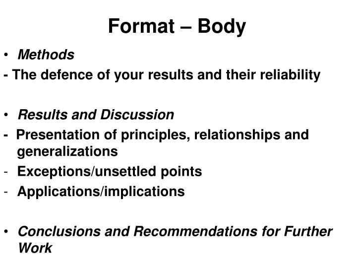 Format – Body