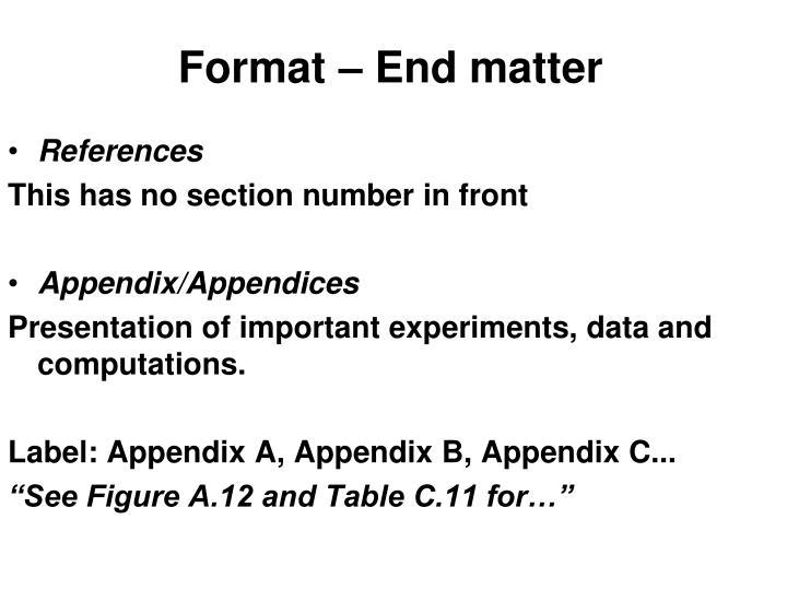 Format – End matter