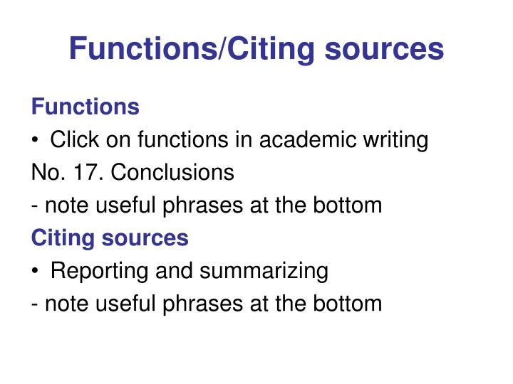 Functions/Citing sources