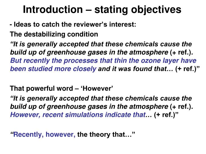 Introduction – stating objectives