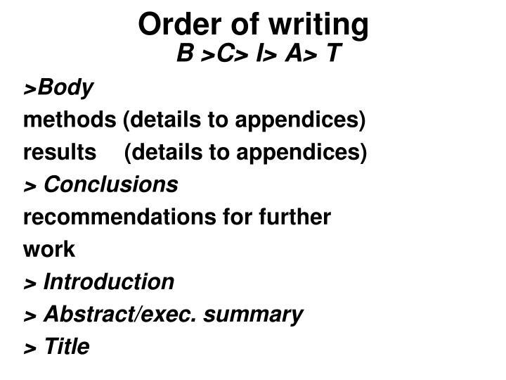 Order of writing