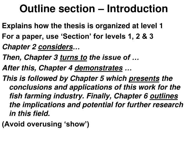 Outline section – Introduction
