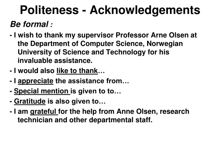 Politeness - Acknowledgements