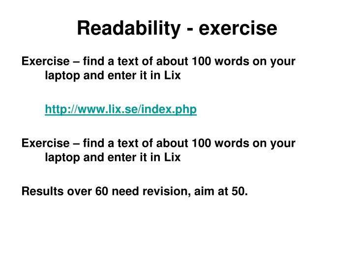 Readability - exercise