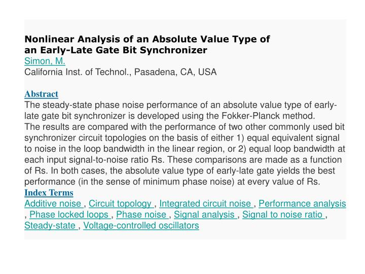 Nonlinear Analysis of an Absolute Value Type of