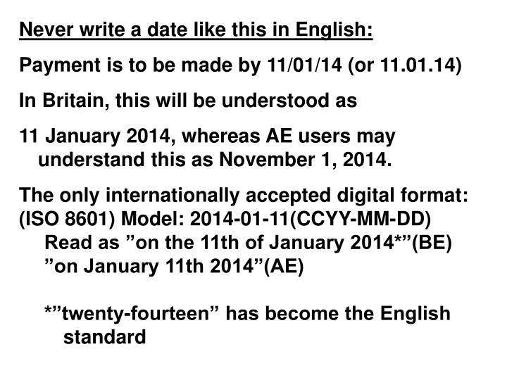 Never write a date like this in English: