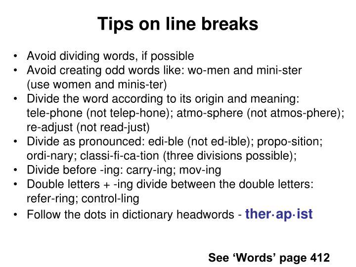 Tips on line breaks