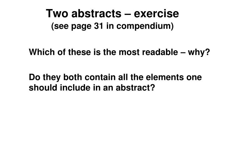 Two abstracts – exercise