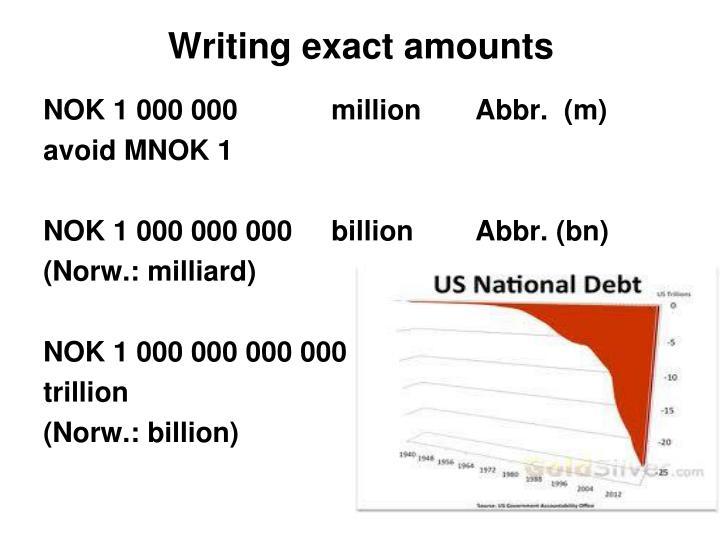 Writing exact amounts