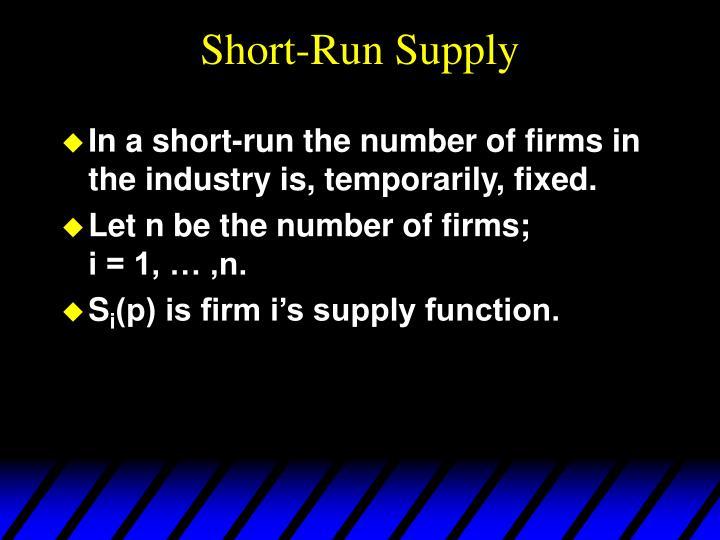 Short-Run Supply