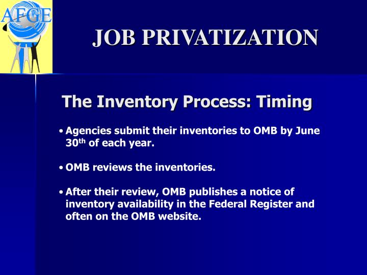 The Inventory Process: Timing