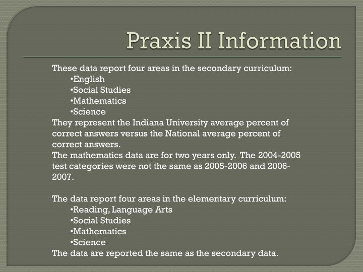 Praxis ii information
