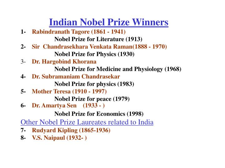 Indian Nobel Prize Winners