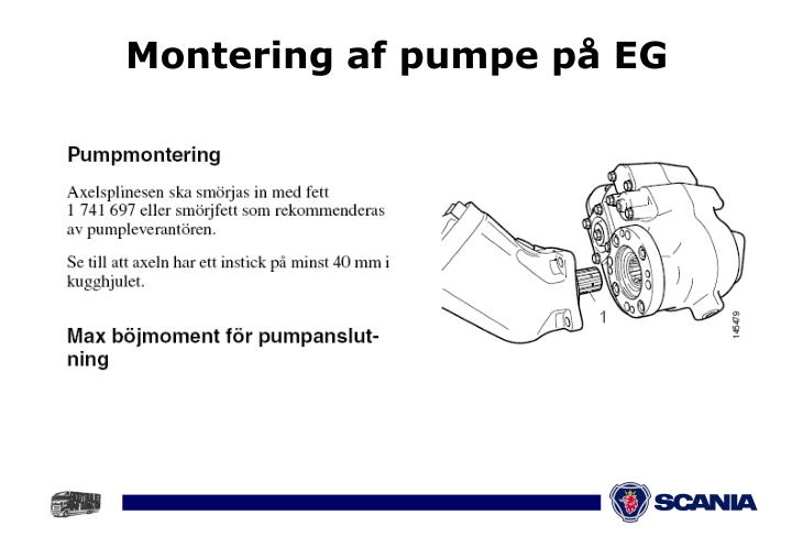 Montering af pumpe på EG