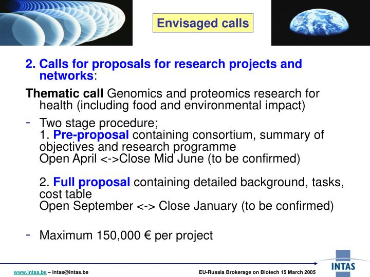 2. Calls for proposals