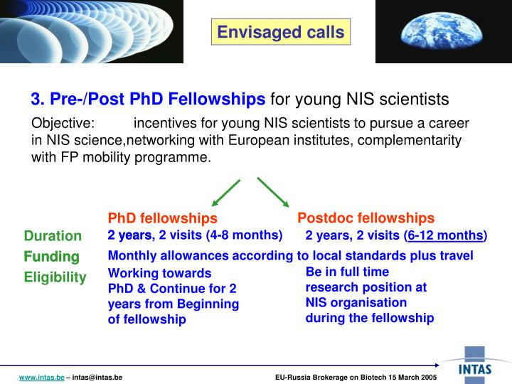 3. Pre-/Post PhD Fellowships