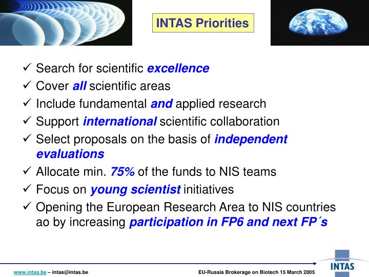 INTAS Priorities