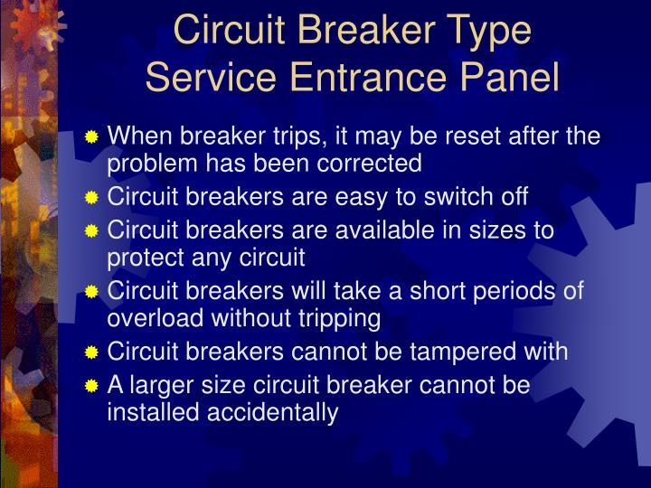 Circuit breaker type service entrance panel