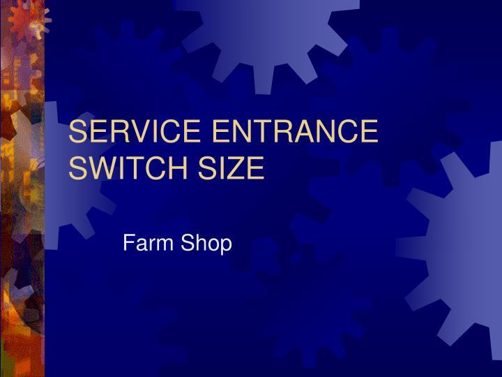 SERVICE ENTRANCE SWITCH SIZE