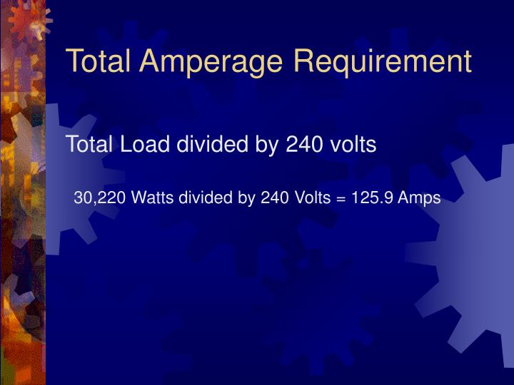 Total Amperage Requirement