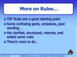 more on rules