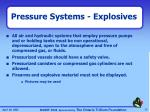 pressure systems explosives