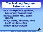 the training program introduction