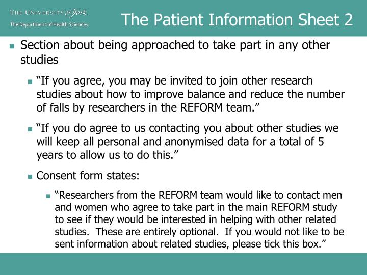 The Patient Information Sheet 2