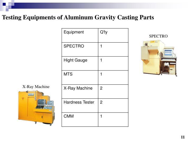 Testing Equipments of Aluminum Gravity Casting Parts