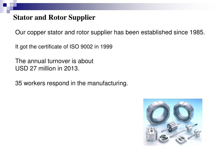 Stator and Rotor Supplier