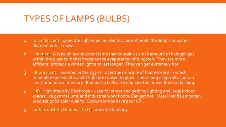 Types of lamps bulbs