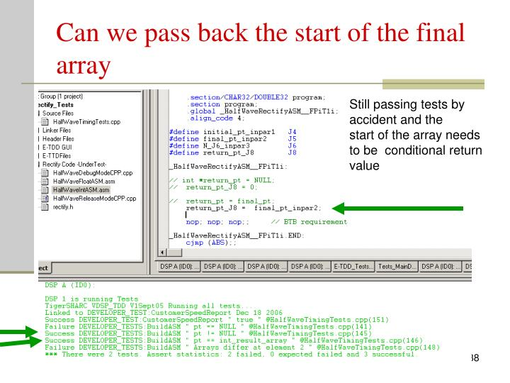 Can we pass back the start of the final array