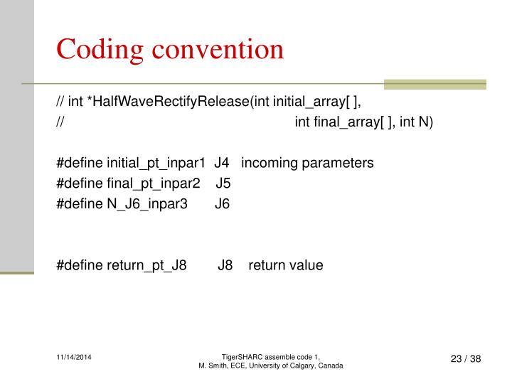 Coding convention