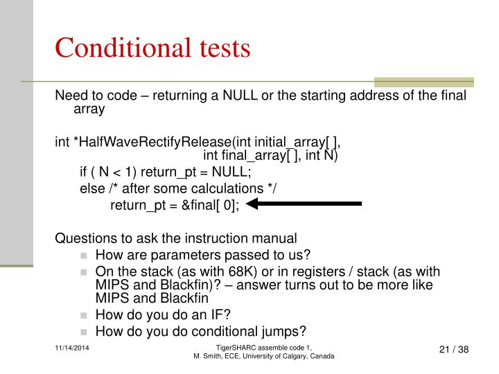 Conditional tests