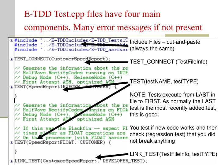 E-TDD Test.cpp files have four main components. Many error messages if not present