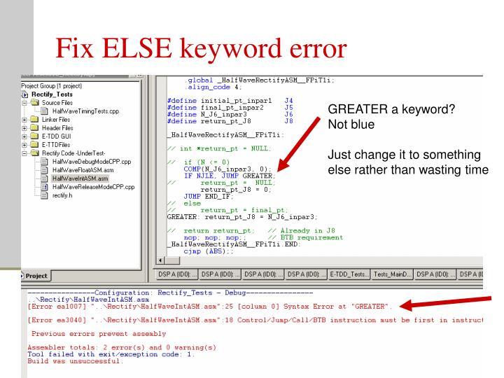 Fix ELSE keyword error