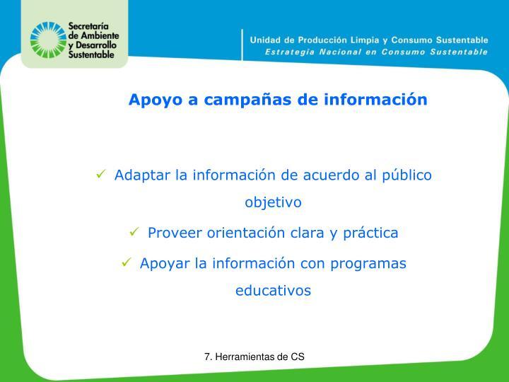 Apoyo a campañas de información