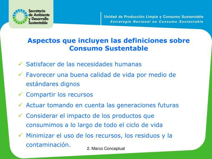 Aspectos que incluyen las definiciones sobre Consumo Sustentable