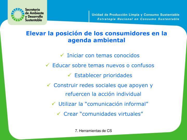 Elevar la posición de los consumidores en la agenda ambiental