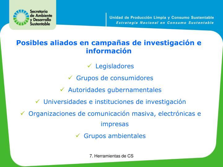 Posibles aliados en campañas de investigación e información