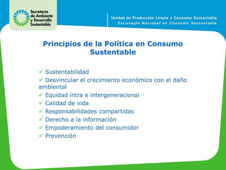 Principios de la Política en Consumo Sustentable