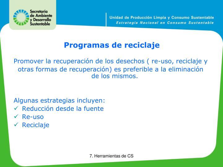 Programas de reciclaje