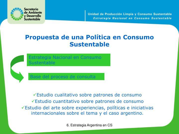 Propuesta de una Política en Consumo Sustentable