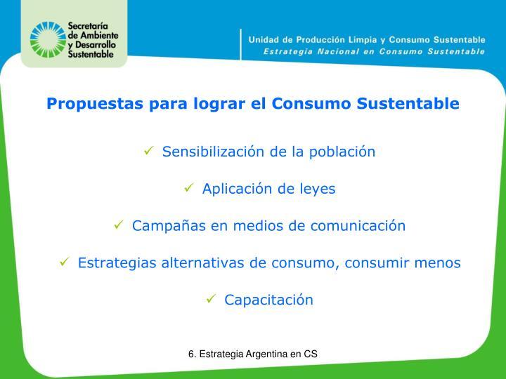 Propuestas para lograr el Consumo Sustentable