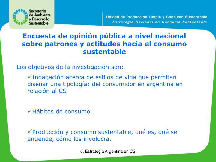 Encuesta de opinión pública a nivel nacional sobre patrones y actitudes hacia el consumo sustentable
