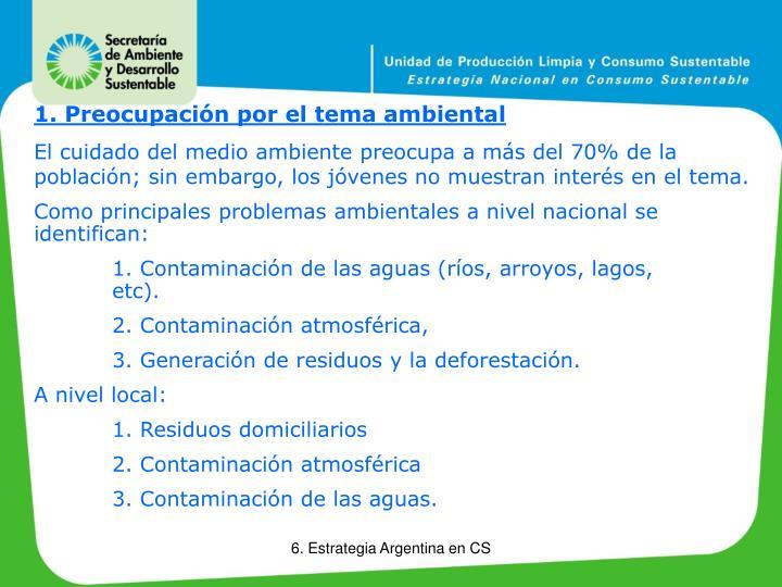 1. Preocupación por el tema ambiental