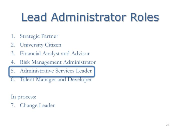 Lead Administrator Roles