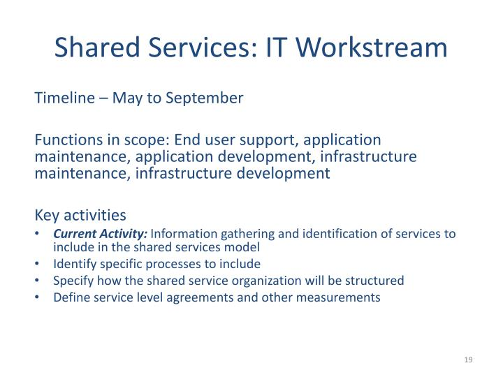 Shared Services: IT Workstream